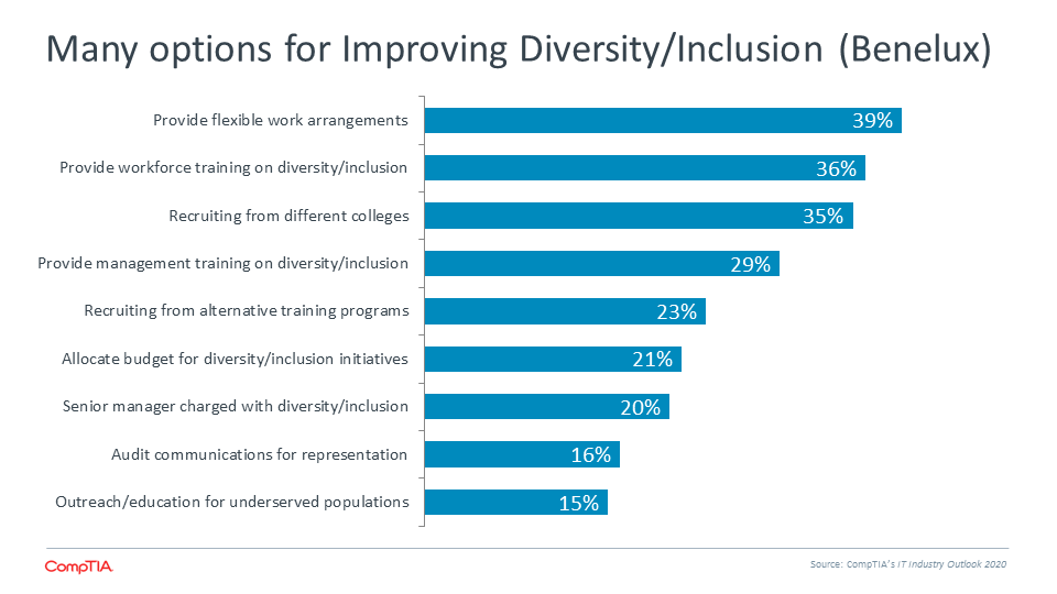 Many options for Improving Diversity Inclusion (Benelux)