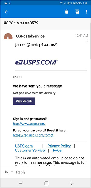 A screenshot of a spoofed email that appears to be from the U.S. Postal Service