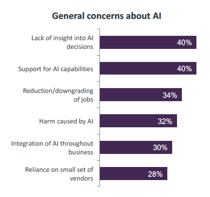 Chart showing top reasons adopters are concerned with AI currently
